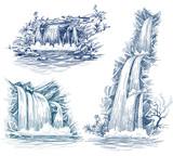 Water falls vector drawing