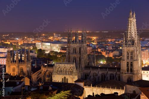 Catedral de Burgos de noche, Burgos, Castilla y Leon, España