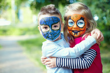 Two Face Painted Little Friend...