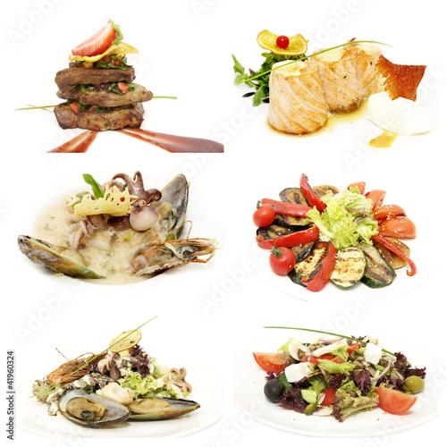 Foto op Canvas Snack салаты с овощей и морепродуктов