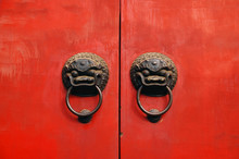 Lion Chines Door Hand Grip On Red Door, Chines Style