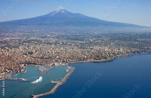 Air photo of Catania city in Sicily Canvas Print
