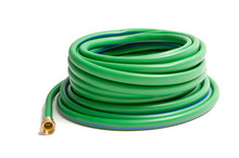 Rolled Up Garden Hose Isolated On White