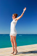 beautiful woman is enjoying the sea freedom