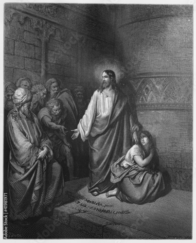 Jesus and the Woman Taken in Adultery Canvas Print