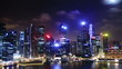 Cityscape at night. Time lapse. Singapore