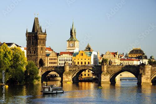 Ingelijste posters Oost Europa Charles bridge, Prage