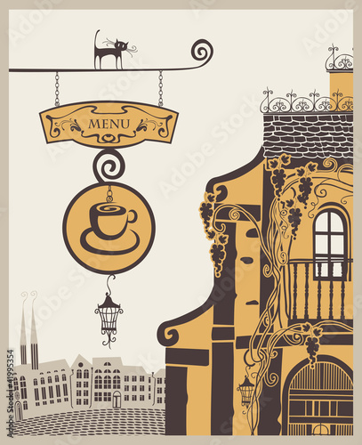Poster de jardin Drawn Street cafe banner for menu to old cafe in city