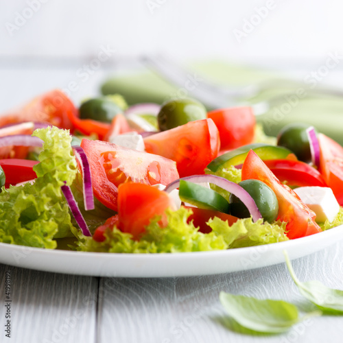 Fototapety, obrazy: Mediterranean salad with sant agostino olives and feta