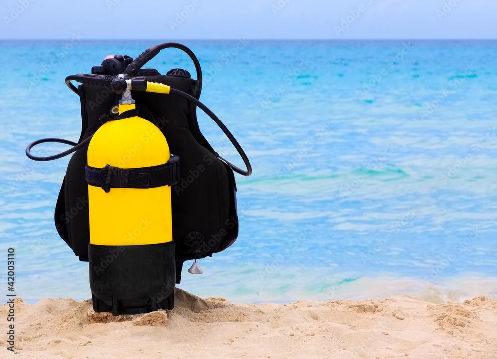 Fototapeta Scuba diving equipment on a cuban beach