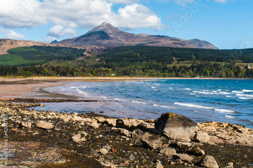 Goat Fell and Brodick Bay on the Isle of Arran, Scotland Canvas Print