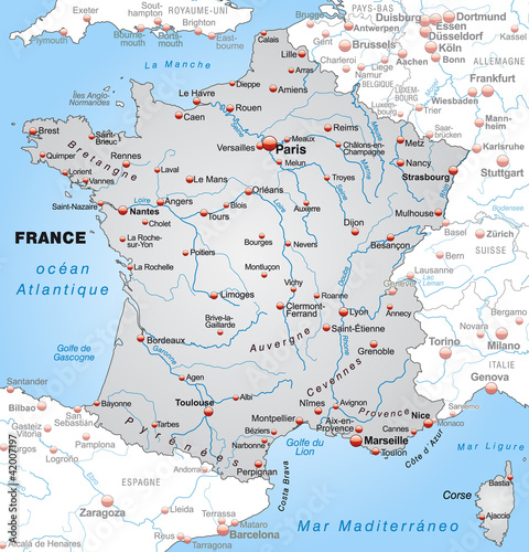 Map Of France With Neighbouring Countries.Map Of France With Neighboring Countries And Capitals Buy This
