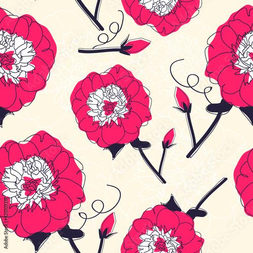 Keuken foto achterwand Abstract bloemen Seamless pattern with flowers