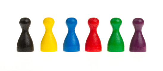Six colored pawns