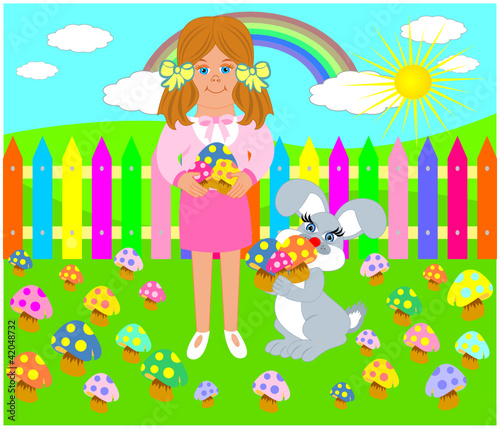 In de dag Regenboog mantar toplayan kız çocuğu ile sevimli tavşan