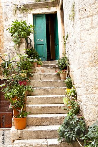 Fototapeta premium Widok na otwarte zielone drzwi - Trogir