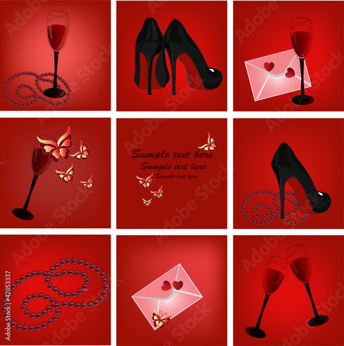 Poster Hibou Icons with an envelope butterflies heart glasses shoes