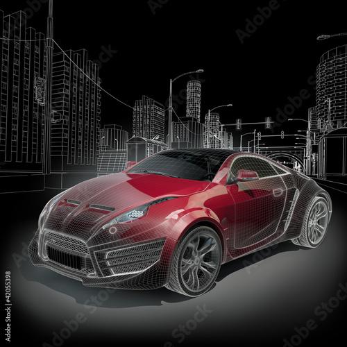 Plakaty motoryzacja   samochod-koncepcyjny-3d