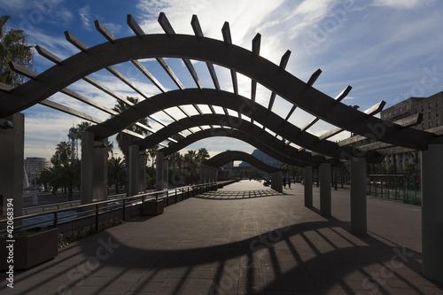 Pedestrian walkway along Barcelonas waterfront #42068394