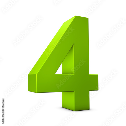 Number 4 3d render illustration Poster