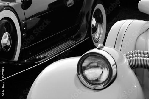 In de dag Vintage cars Retro cars in black and white