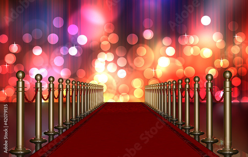 Photo  red carpet entrance with Multi Colored Light Burst