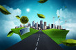 canvas print picture - Way to a Green City