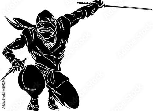 Photo  Ninja fighter - vector EPS illustration. All vinyl-ready.