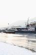 The frozen river Danube in january