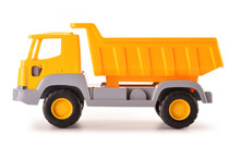 Plastic Dump Track Toy Isolated On White