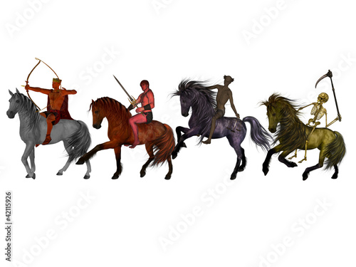 The Four Horsemen of the Apocalypse on a white background. Wallpaper Mural