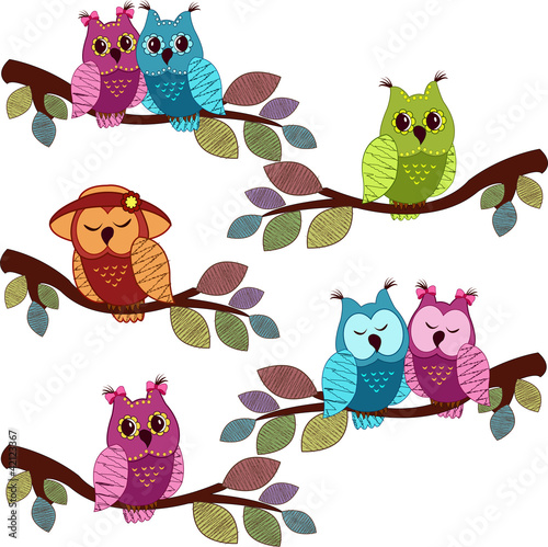 Stickers pour porte Hibou Lot of owls sitting in a tree