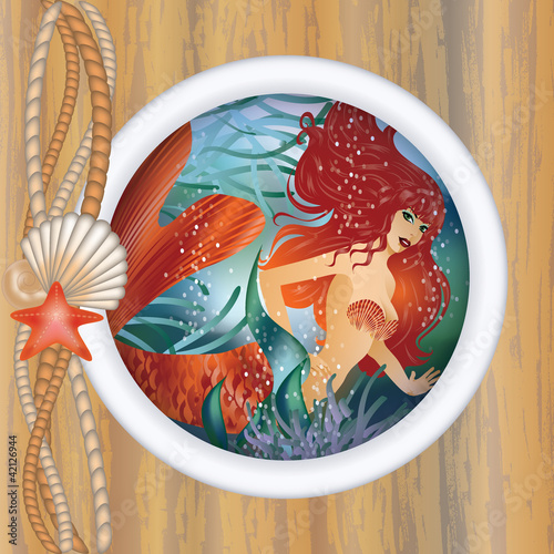 Wall Murals Mermaid Beautiful mermaid in porthole. vector illustration