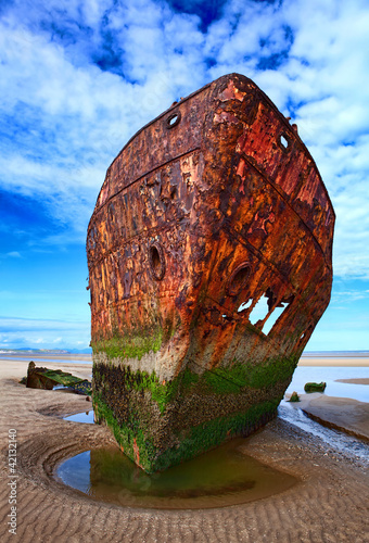 Deserted rusty ship
