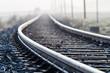 canvas print picture - Einspurige Bahnlinie im Morgennebel