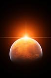 Mars i wschodzące słońce