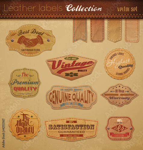 Foto auf AluDibond Weinlese-Plakat Leather Labels Collection.