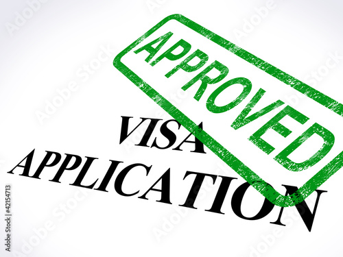 Fotografie, Obraz  Visa Application Approved Stamp Shows Entry Admission Authorized