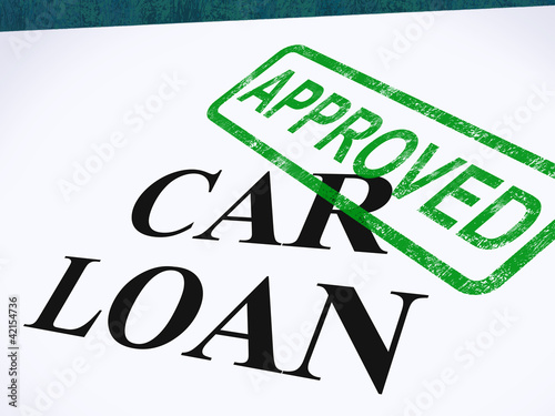 Fotografía  Car Loan Approved Stamp Shows Auto Finance Agreed