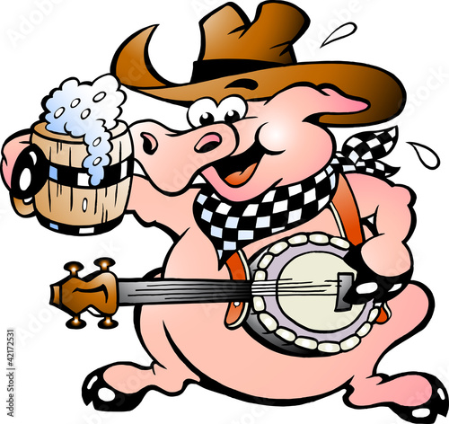 Poster de jardin Ouest sauvage Hand-drawn Vector illustration of an pig playing banjo