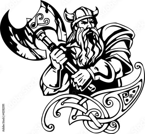 Fotografie, Obraz  Nordic viking - black white vector illustration. Vinyl-ready.