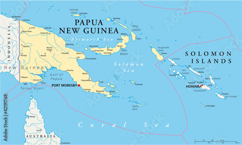 Fotomural Papua New Guinea political map with capital Port Moresby, national borders, most important cities, rivers and lakes