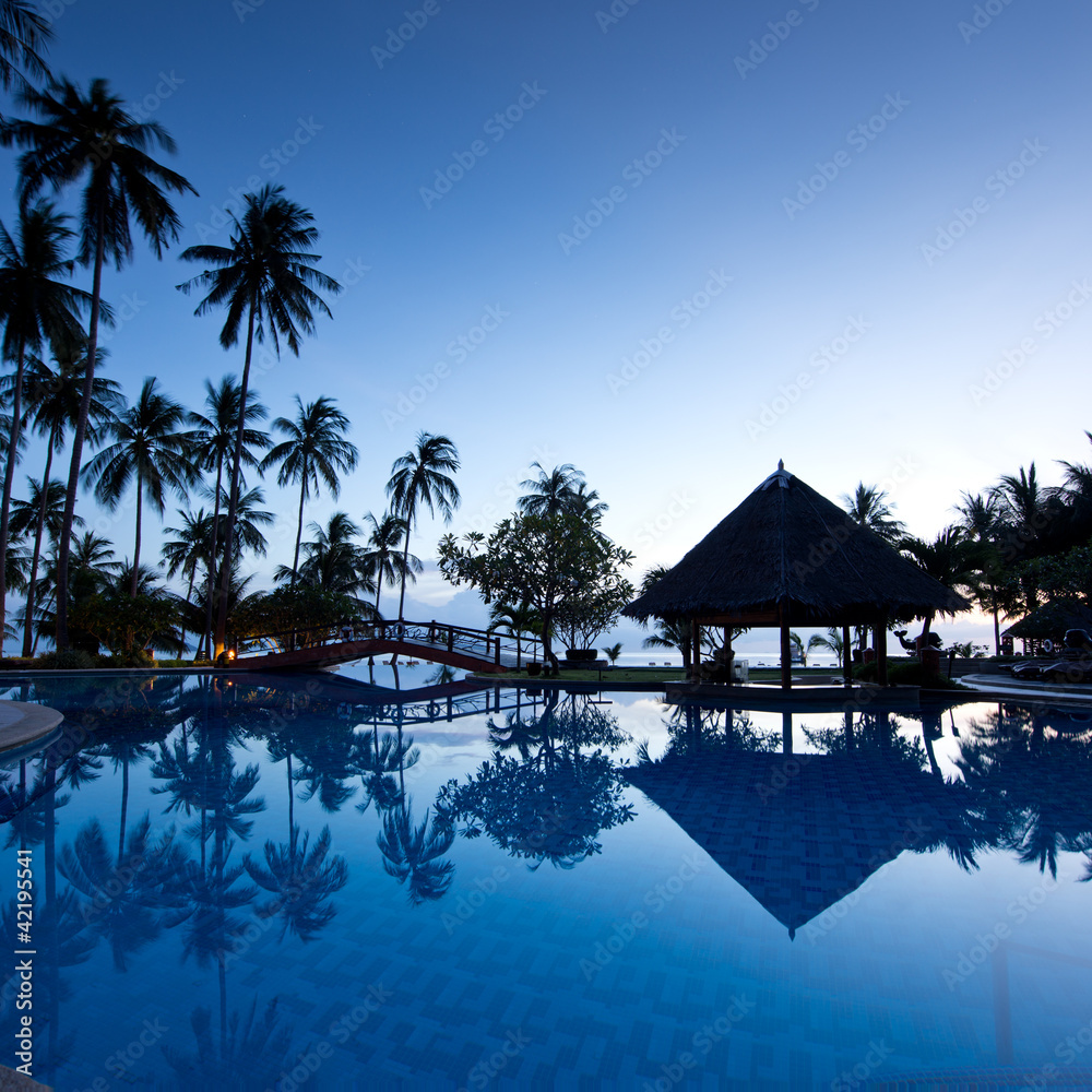 Foto Rollo Basic - Amazing sunrise at swimming pool wit palms background