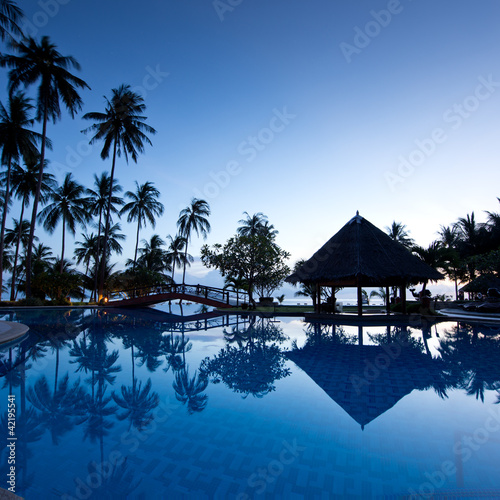 Foto-Schiebegardine Komplettsystem - Amazing sunrise at swimming pool wit palms background (von dell)