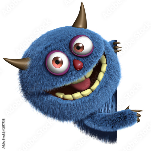 Tuinposter Sweet Monsters blue furry alien