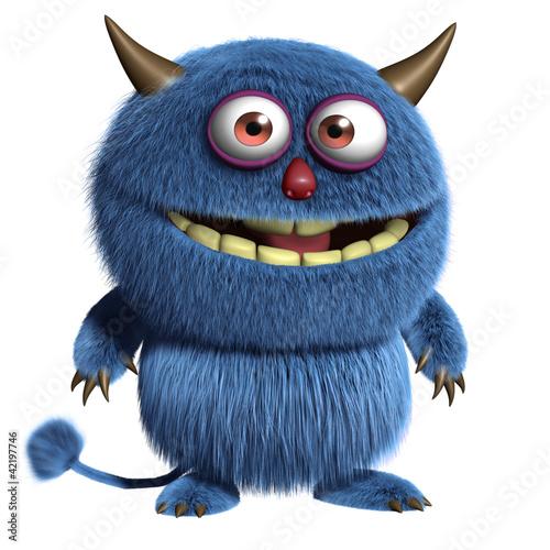 Fotobehang Sweet Monsters blue furry alien