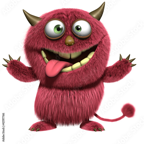Keuken foto achterwand Sweet Monsters red hairy alien