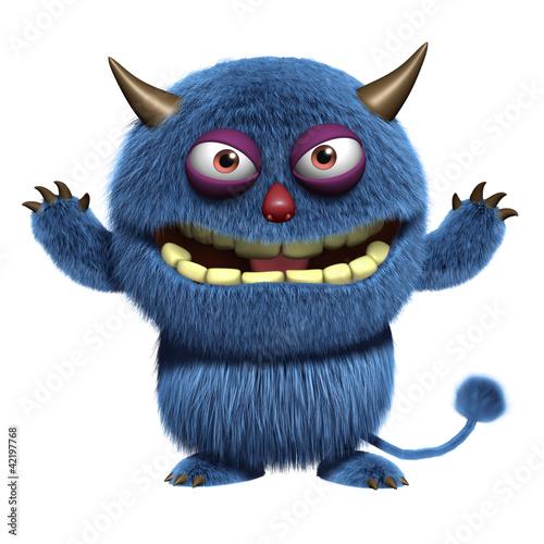 Keuken foto achterwand Sweet Monsters blue furry alien