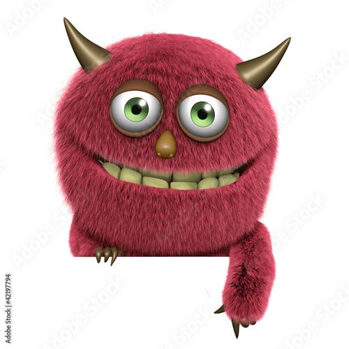 Poster de jardin Doux monstres cute furry alien