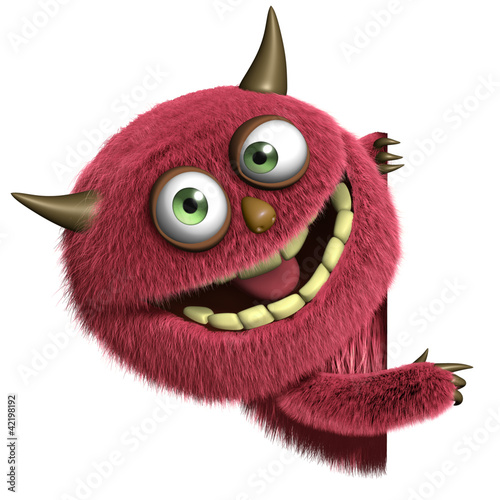 Fotobehang Sweet Monsters cute furry alien
